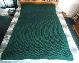 Forest Green Hand Knitted Chevron Afghan, Blanket, Throw - Home Decor