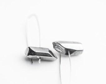 Modern Hook Earrings Silver Quartz Argentuim Sterling Silver Handmade Urban Minimalism Geometric Jewelry minimal chic