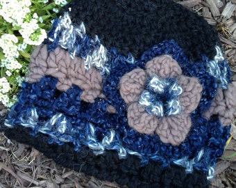 Alpaca Wool Hat with Large Flower, Black, Blue, Grey, Hand Crocheted, Ready to Ship