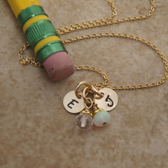 Custom order for Two TINY, 6mm  gold Initial necklaces with birthstone dangles. Details for each necklace as discussed