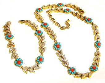 Turquoise and Coral Glass Floral Set Demi Parure