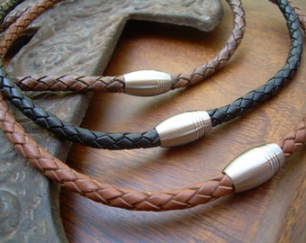 Mens Necklace,  Braided Leather Necklace, Groomsmen Gift, Magnetic Clasp,Braided, Mens Jewelry, Mens Gift, Necklace, Jewelry, Gift for Him,