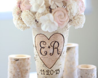 Personalized Birch Vase Rustic Custom Wedding Bridal Shower Christmas Gift Wedding Party Bridesmaids (NVMHDA1128)