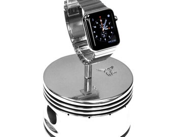 Continental Motors 0-200 C90 Airplane Engine Polished Chrome Piston Watch Display Stand for Apple Samsung Breitling Rolex Bremont Pilots
