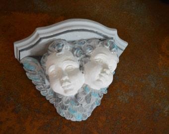 victorian country chic rennaisance CHERUB WALL SCONSE double head cherub wall sconse