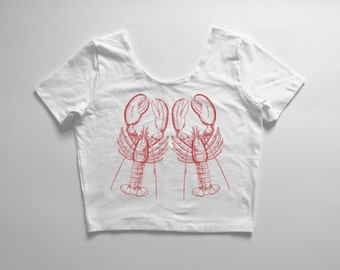 LOBSTER TWINS | White crop tee