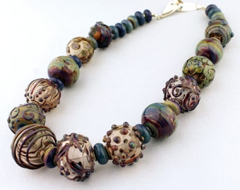 Lampwork Necklace, Beaded Jewelry, Hollow Glass Beads, Purple, Blue, Green, 'Autumn Plum'