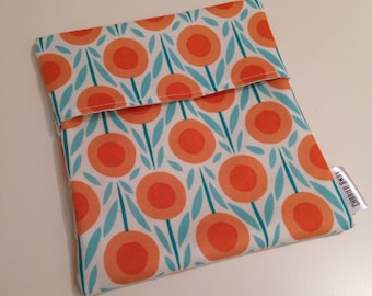 Organic Cotton Sandwich Bag Snack Bag - Orange Flowers