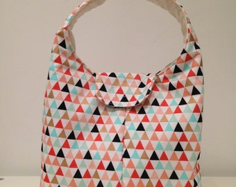 Lunch Bag Insulated - Gold Melon Aqua Triangles