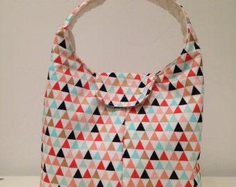 Lunch Bag Insulated - Gold Melon Aqua Triangles