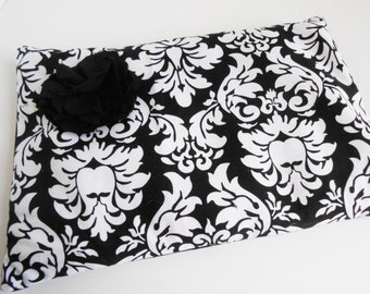 White and Black with Flower for Hot and Cold Therapy, Breastfeeding, Headaches, Cramping, Sore Muscles- Unique Gift Giving Idea 8x11