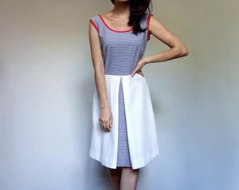 Sailor Dress Women Vintage Nautical Red White Blue A line 70s Striped Sundress - Medium M