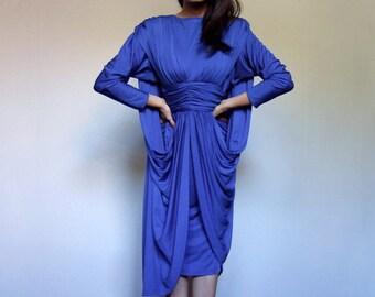 Cobalt Blue Party Dress Vintage 80s Draped Long Sleeve Cape Avant Garde Bright Cocktail Dress - Medium M
