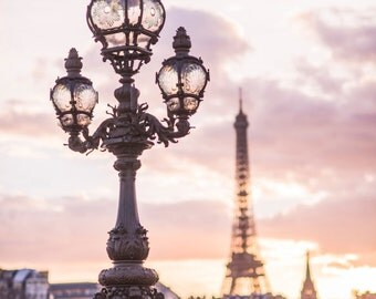 Paris Photograph - Sunset from Pont Alexandre III, Paris in Mauve, Eiffel Tower, French Home Decor, Lamp Post, Large Wall Art
