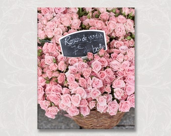 Paris Photo on Canvas, Market Roses de Jardin Canvas, French Home Decor, Gallery Wrapped Canvas, Large Wall Art