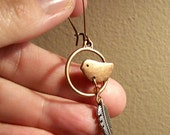 Antique Copper Birds in Circle with Silver Feather Earrings
