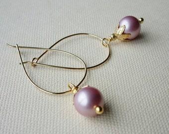 Pastel Pink Pearl Gold Hoop Earrings . Rose Pink Pearl Gold Teardrop Hoops . Light Pink Pearl Bridesmaids Earrings