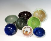 8 Assorted Mini Bowls / High Fired Pottery / Serving / Food Prep / Condiment Bowls / Ring Dish