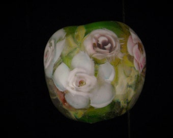 Old Roses Lampwork Glass Bead