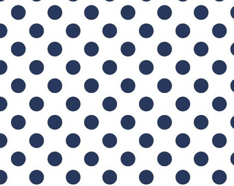 """White and Navy Medium Dots Fabric by Riley Blake Designs - 32"""" - LAST PIECE - Blue and White - C490-21"""