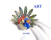 FREE SHIP Art Signed Peacock Dimensional Multi-Colored Brooch (4-4786)