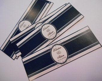 Wedding Cigar Bands - Custom Printed for you - Cigar Labels for Birthdays - Rehearsel Dinner - Elegant Black and White Cigar Bands -16 Bands