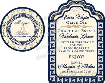 Greek Wedding Favor Tags - Luggage tag style - Customizable - stickers available - custom colors