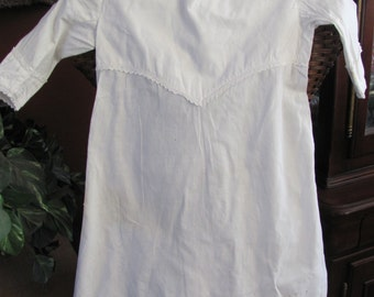 Antique White Embroidered Cotton Baby Child Gown Dress Long Sleeve