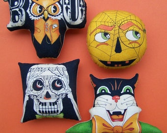Set of 4 Primitive Retro Halloween Ornies Tucks Shelf Sitters Grungy Cat Owl Moon Skeleton Gift Bowl Fillers