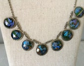 Blue Morpho Butterfly Wing Necklace...1940's Butterfly Wing Pendant...Tropical Beach Wedding...Bridesmaid Gift #1