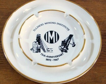 Ceramic Advertising Ashtray, Illinois Mining Institute, 1967 Tobacciana