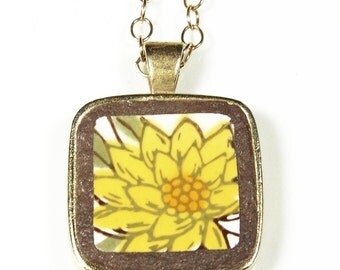 Broken Plate Necklace Sunflower on Gold Filled Chain one-of-a-kind
