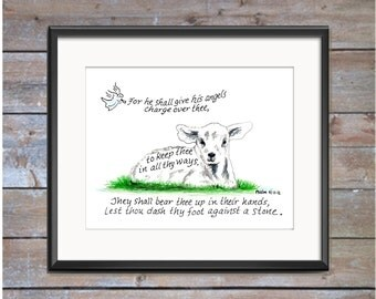 Lamb, Bible Verse art print, scripture design, hand lettered typography, wall art decor