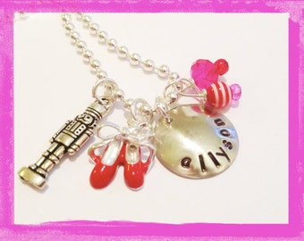 Nutcracker Ballet Necklace - Personalized Hand Stamped Charm Necklace -Ballet- Slippers and Tutu Necklace Dance for Girls #D32