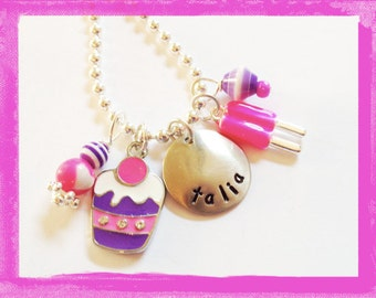 Charm necklace for Girls Personalized - Hand Stamped  Cupcake SWEET Jewelry for Children Birthday Necklace Cup #SW