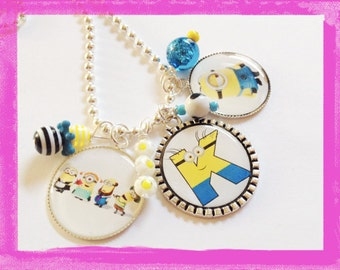 MINION Charm Necklace - Personalized Jewelry - Bezel Setting - Your Initial  - Minion Jewelry #AB102