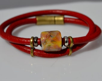 Bebe's Boro Beads  Wrapped Leather Red Bracelet Magnetic Antique Brass Clasp  Medium #28