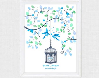 wedding fingerprint guest book tree birdcage love birds - printable diy - love will set you free thumbprint tree hearts bluebird engagement