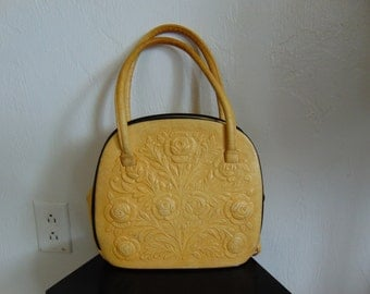 50s western hand tooled leather handbag ROSES Made in Mexico