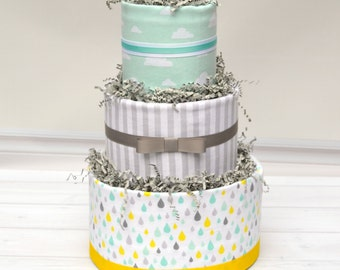 Diaper Cake, Gender Neutral Baby Gift, Modern Diaper Cake, Baby Sprinkle, Rain Baby Shower, Baby Shower Centerpiece, Counting Sheep, Clouds