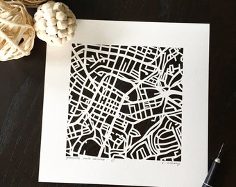 Greenville, USC, Bluffton hand cut map, 10x10