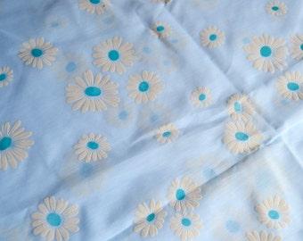Vintage Fabric - Mod Flocked Daises on Sheer Blue - 46 x 36