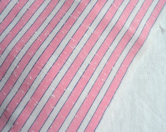 Vintage Fabric - Pink and White Stripe Woven Cotton - 45 x 36