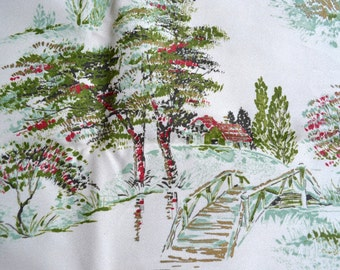 Vintage Fabric - Farmhouse Trees Upholstery - By the Yard