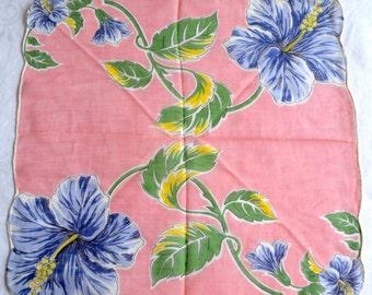 Vintage Hankie - Purple Hibiscus on Pink - Scalloped Edge Floral
