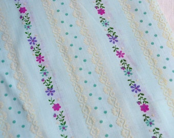 Vintage Fabric - Flocked Purple Flowers and Stripe on Sheer Blue - 44 x 42
