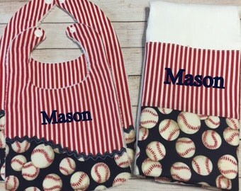Personalized Three Piece Set Football or Baseball Print Bibs and Burp Cloth Infant Gift Set