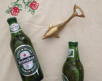 brass dolphin marine bottle opener vintage gift for him dad