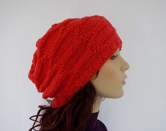 knit slouchy beanie in cherry red , knit slouchy hat, hand knitted beanie