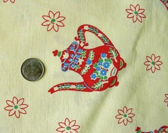 Vintage  FEEDSACK  Feed Sack Novelty Cotton Fabric - Red Teapots  on Yellow Background - 36 x 41